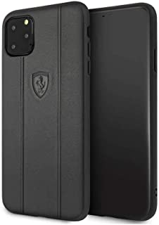 Ferrari Off Track Leather Embossed Line For iPhone 11 Pro Max - Black, FEO3DHCN65BK