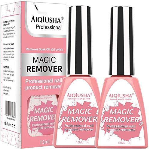 Nagellak verwijderaar, 2 stks Professionele Poolse Remover & Magic Gel nagellak verwijderaar, gemakkelijk & snel verwijdert Soak-Off Gel Polish, Verwijder Primer Acryl Clean Degreaser Voor Nagel Art Lak (2*15ml) Pink1