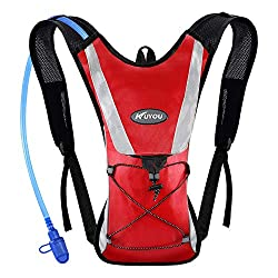 What is a hydration pack? KUYOU hydration pack with 2L water bladder, red color.