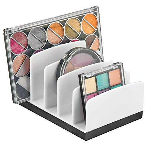mDesign Plastic Makeup Organizer for Bathroom Countertops, Vanities, Cabinets: Cosmetics Storage Solution for - Eyeshadow Palettes, Contour Kits - 5 Sections - Lumiere Collection - White/Black