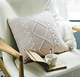 "Decorative Cotton Knitted Pillow Case Cushion Cover Double-Cable Warm Throw Pillow Covers for Bed Couch 18"" X 18"""