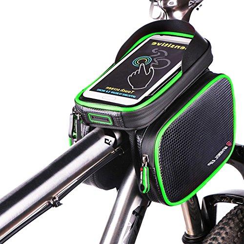 BODECIN Fahrrad Rahmentaschen, Wasserdicht Cycling Lenker Quick Release Bike Gepäcktasche Frame Front Top Tube Bike Bag, Double Pouch with Touch Screen Phone Case Below 6,2 inch Cellphone Phone(Grün)
