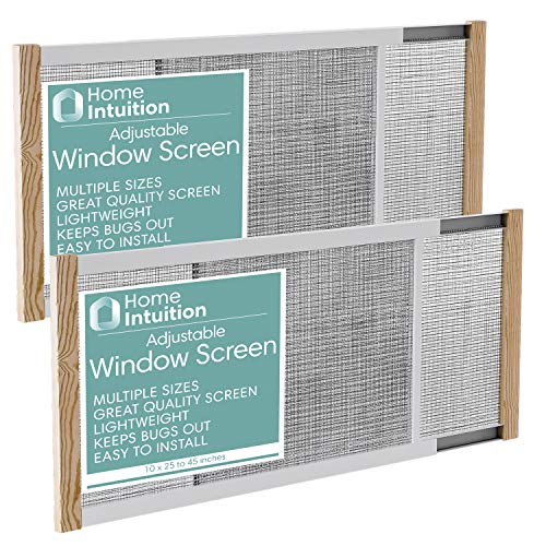Home Intuition 2-Pack Adjustable Horizontal Window Screen 25-45 inches Wide, 10 Inch High