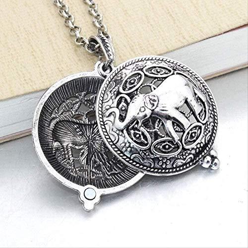 Liuqingzhou Co.,ltd Nuevo patrón de Elefante Retro Que se Puede Abrir Collar con Colgante de Olor a Perfume Collar de Mujer Colgante Redondo de Metal joyería Colgante