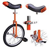 18-inch Wheel Rim Unicycle Orange w/ Saddle Seat Steel Fork Cranks Frame Rubber Tire for Adult Teen Cycling Exercise Bike Ride On Off Road Street Mountain Trail