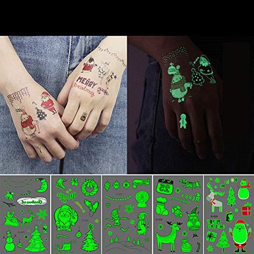Kylewo Stickers Kerstmis, kindertattoo's set in het donker lichten lichten tijdelijke tattoo stickers voor ramen, glas, telefoondoos, lichaam, vingernagel (24 stuks)