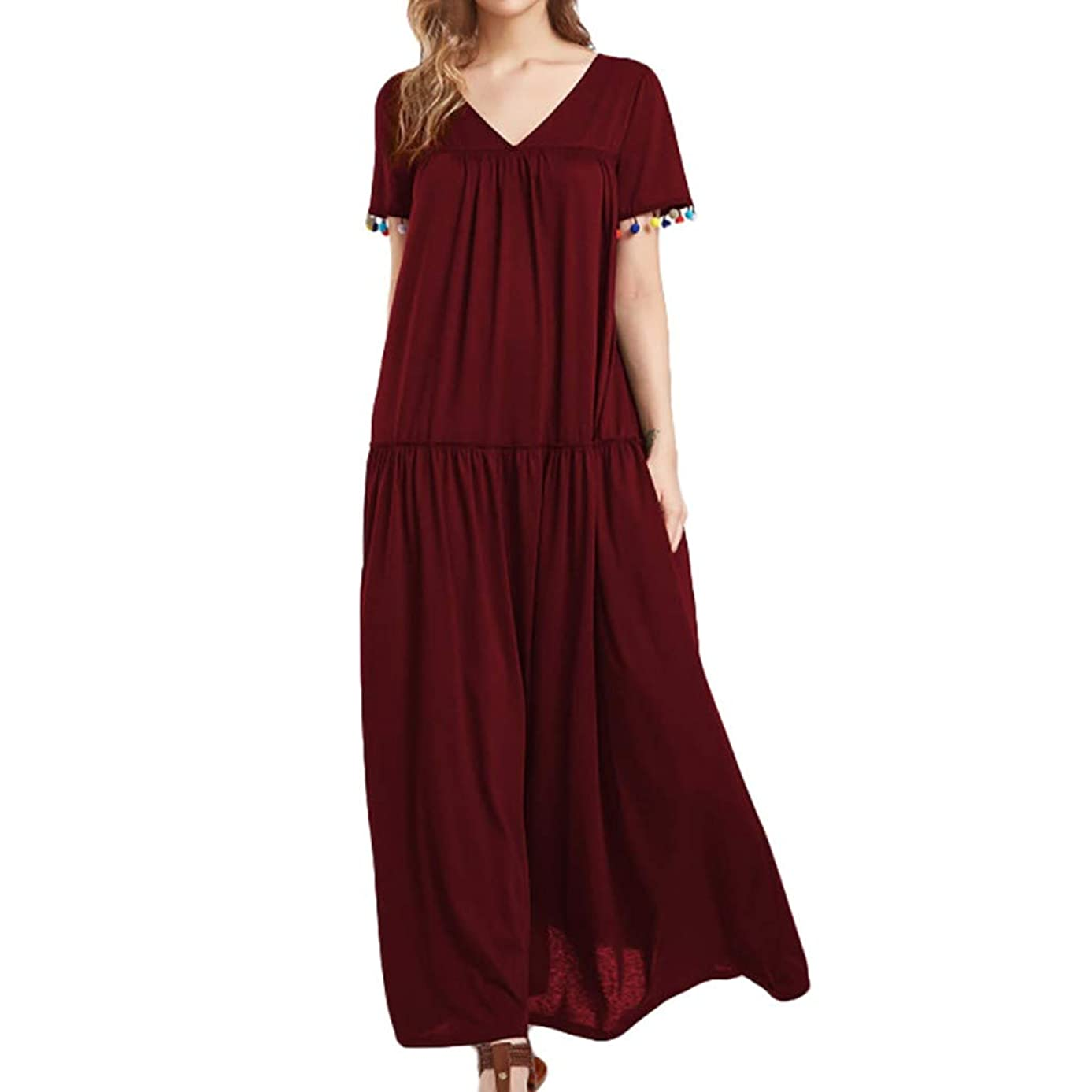GHrcvdhw Stylish Women Summer Casual Solid Color Short Sleeve Fold Plus Size Long Dress