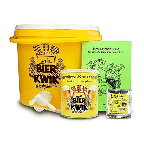 Monsterzeug Brauset für Einsteiger, Bier selber brauen, DIY Kit Pils selber herstellen, 10l Biereimer, Hefe, Hopfkonzentrat, kreatives Biergeschenk, Gelb