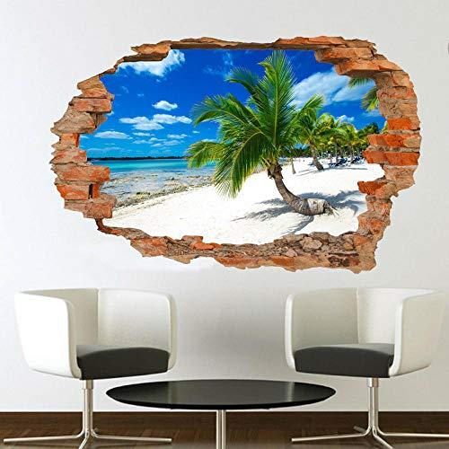 Wandtattoo Palm tree beach tropical beach wall mural art sticker poster 3d effect