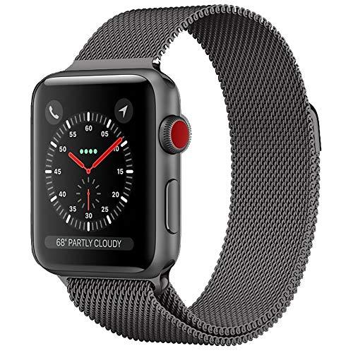Crong Milano Steel Elegante roestvrijstalen armband voor Apple Watch 42/44 mm, zwart