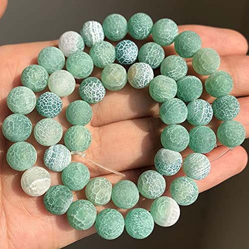 NHFVIRE Perlas de Piedra Mate Naturales Polish Pink Pink Jaspers Jades Agates Jades Mineral Beads para joyería Hacer Pulsera DIY Green Frosted Agate 8mm 46pcs Beads