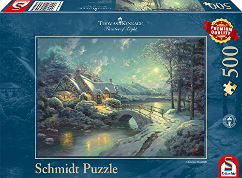 Schmidt Spiele 58453 Thomas Kinkade 58453-Thomas, Winterliches Mondlicht, 500 Teile, bunt
