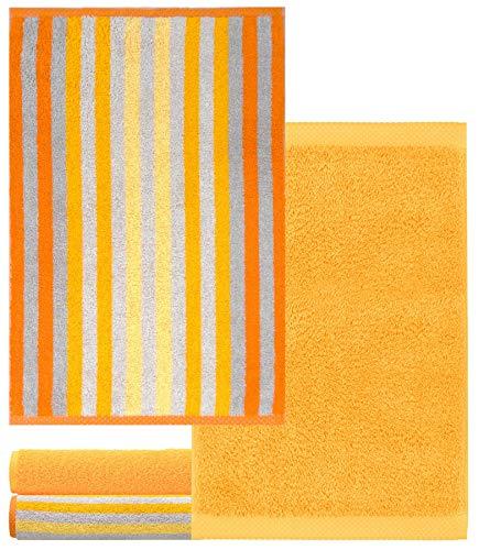 Lashuma Gästetuchset 4 STK. 30x50 cm, Frotteetücher Gestreift - Einfarbig, Handtuchset Farbe: Gelb - Mais