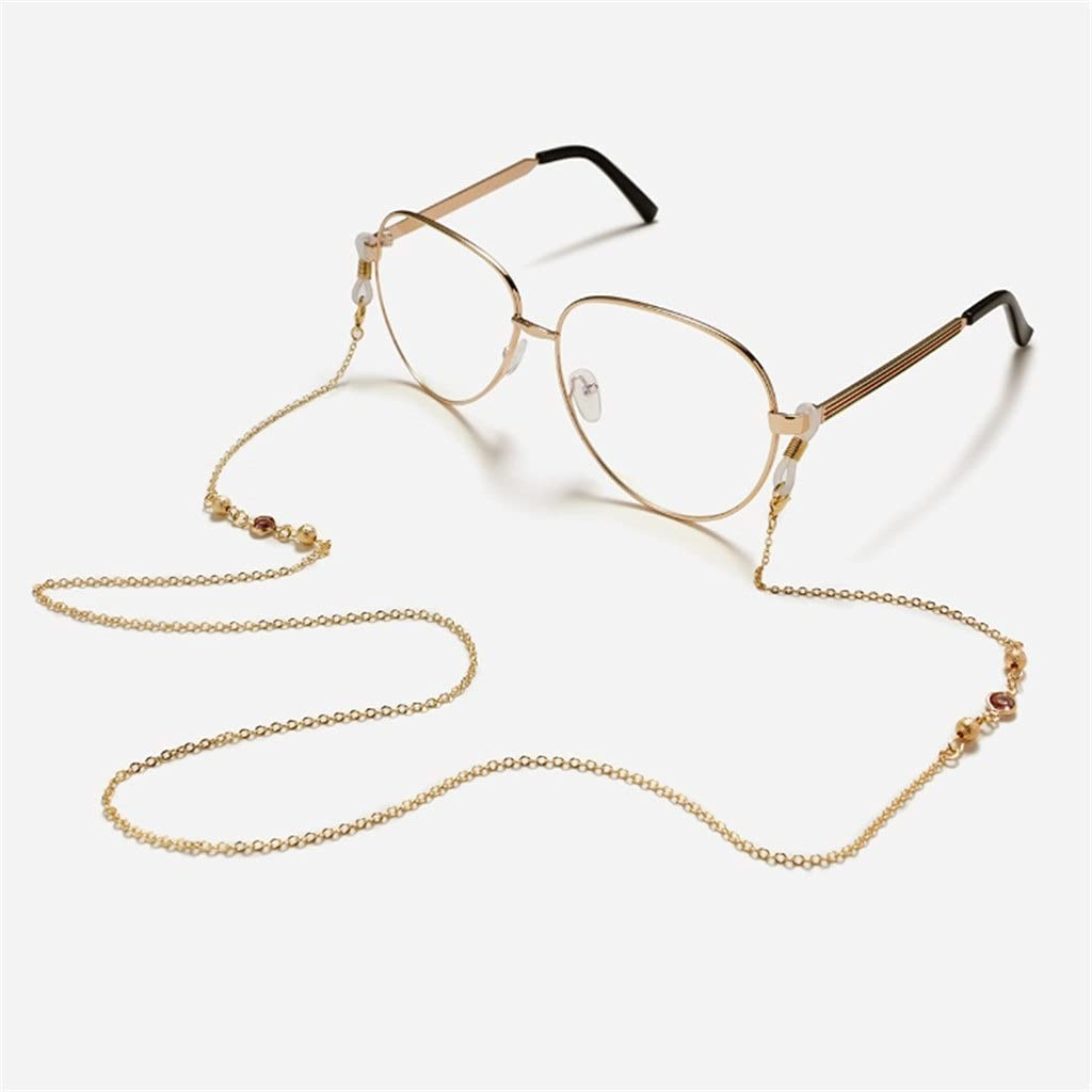 WJCCY Frosted Bead Glass Crystal Copper Chain Cords Reading Glasses Chain Women Sunglasses Accessories Lanyard Hold Straps (Color : A, Size : Length-70CM)