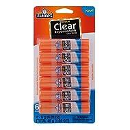 Elmer's Clear Glue Sticks, Washable, 0.28 Ounce Glue Sticks for Kids | School Supplies | Scrapbooking Supplies | Vision Board Supplies, 6 Count