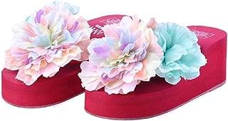 THE LONDON STORE Women's Pink EVA Flower Platform Wedges Sandals