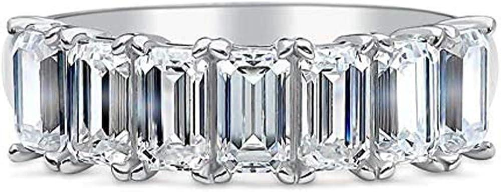 PJ 6.91Ct Seven Stone Emerald Wedding Diamond Anniversary Over item handling Animer and price revision ☆ Ba Cut