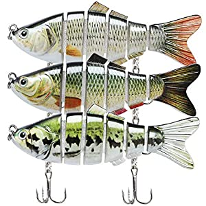 "TRUSCEND Fishing Lures for Bass 3.9"" Multi Jointed Swimbaits Slow Sinking Hard Lure Fishing Tackle Kits Lifelike"