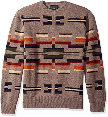 Pendleton Men's Long Sleeve Outdoor Crew Neck Sweater, Multi Novelty Motif, XL