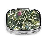 Pastillero – Pastilleros personalizados para pájaros, estuche rectangular portátil de metal plateado, compacto 2 espacios, pastilleros para viaje/bolsillo/monedero