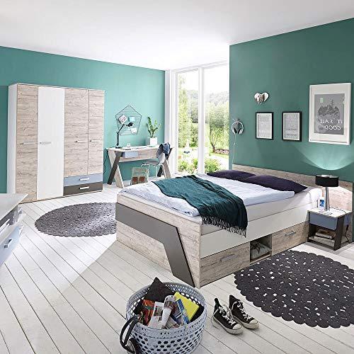 Jugendzimmer Komplett Schlafzimmer Set Kinderzimmer LEEDS-10 & Kleiderschrank Schreibtisch 140x200cm Doppelbett und Nachtisch in Sandeiche Nb.-weiß/Lava-Denim