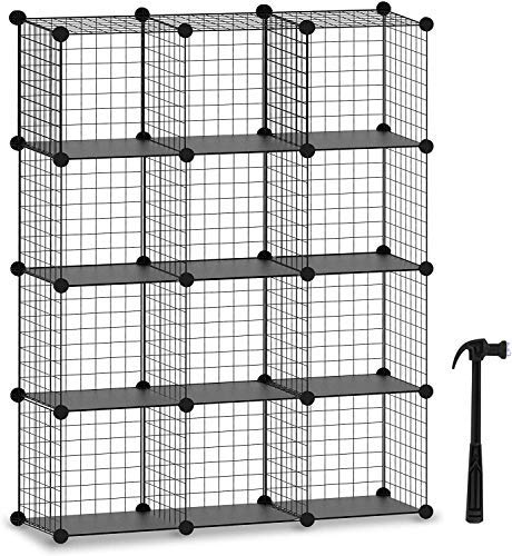 HOMIDEC Würfelregal, 12 Fächer Steckregal, Modulares Bücherregal und Lagerung Aufbewahrungswürfel Mehrzweck, DIY Regalsystem aus Drahtgitter, schwarz