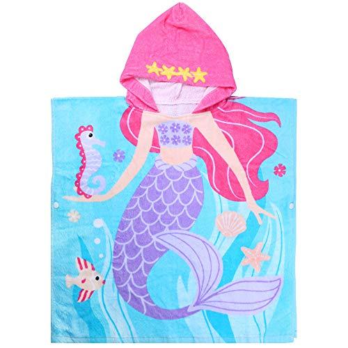 Czemo Toalla con Capucha de Playa para Niños con Capucha para Bebés Niños Encantador Ponchos Encapuchados baño Toalla de Baño (60CM Sirena #2)