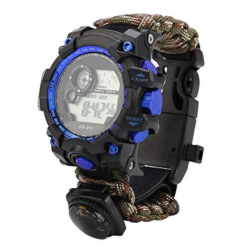 VGEBY1 Reloj de Supervivencia, Reloj de Pulsera multifunción 7 en 1 Silbato de brújula de Paracord para Acampar, Aventura en la Selva, Senderismo, Escalada, Caza