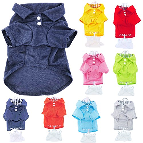 Cute Puppy Cat Dog Polo Shirt T-Shirt Solid Clothes Apparel for Small Pet (XS: Length - 10', Blue Navy)