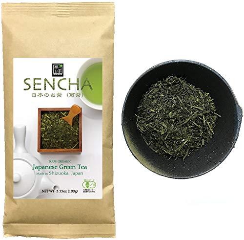 Zen no Megumi Sencha tea Standard - Japanese loose leaf Organic Green tea Made in Shizuoka Japan (Sencha tea Standard 3.53oz 100g)