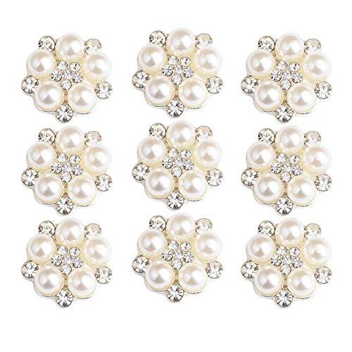 Dusenly Pack de 10 botones retro de perlas de cristal plateadas con diamantes de imitación,  adornos de flores para manualidades,  ropa y decoración