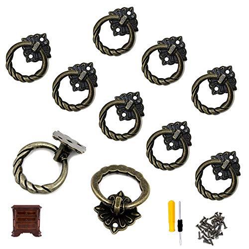 GZjiyu - 10 tiradores de bronce para muebles, estilo vintage, para mesita de noche, armario, escritorio, con 20 tornillos y destornillador (4 x 2,9 cm)