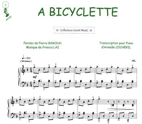 Partition : A Bicyclette - Piano et Paroles - Feuillet