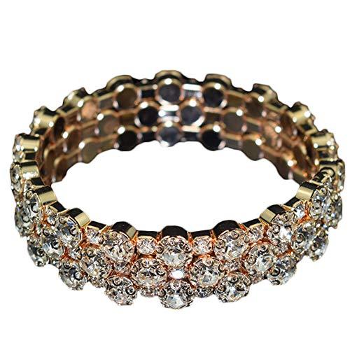 YUANMAO Pulsera de múltiples filas con incrustaciones de circonita cúbica para mujer, pulsera de diamantes completos con cristales elásticos, 3 filas, color dorado