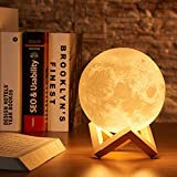 PRIMESKY Moon Night Lamp 3D 7 Color Changing with Stand for Bedroom Lights for Adults and Kids Home Room Beautiful Indoor Lighting - 15CM