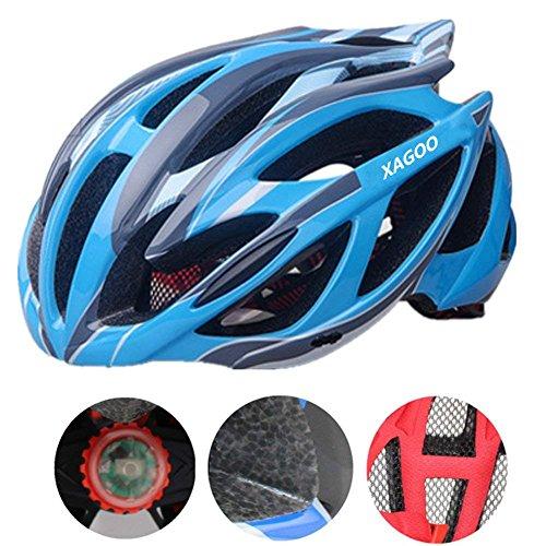 Bicicleta casco 53-62cm Xagoo con construido en luz LED (azul&gris)