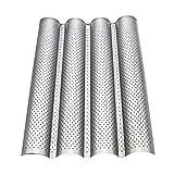 UPKOCH - Teglia per baguette in acciaio INOX, 4 stampi Wave Baguette Pan antiaderenti, per baguette