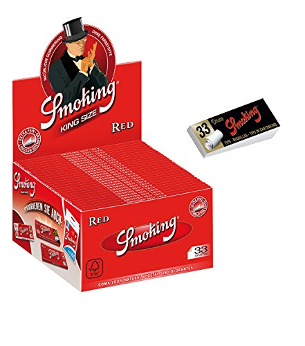 1 Box Smoking RED King Size Papers 50 Heftchen x 33 Blättchen mit Smoking Heftchen 2 x 33 Filtertips Original®