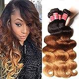 Sunber 10A Ombre Body Wave Hair 3 Bundles Ombre Human hair Body Wave Hair Brazilian Remy Hair Body Wave 100% Human Hair Extensions 3 Tone 1b 4 27 Color (16 18 20)