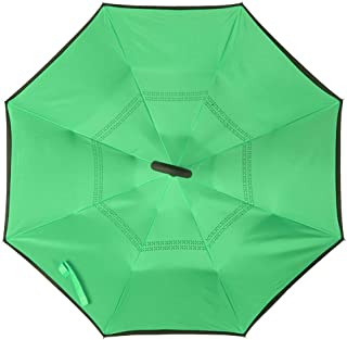 7d2b064d2ef08 Shoppozone Double Layer Inverted Reversible No Drip Umbrella with C Shape  Handle (Green)
