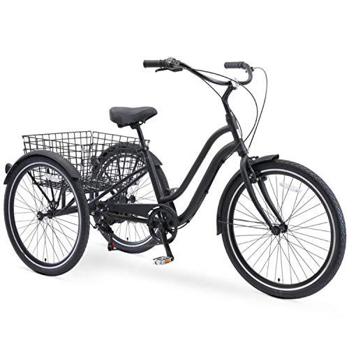 sixthreezero EVRYjourney 26 Inch 7-Speed Hybrid Adult Tricycle with Rear Basket, Matte Black, One Size (630335)