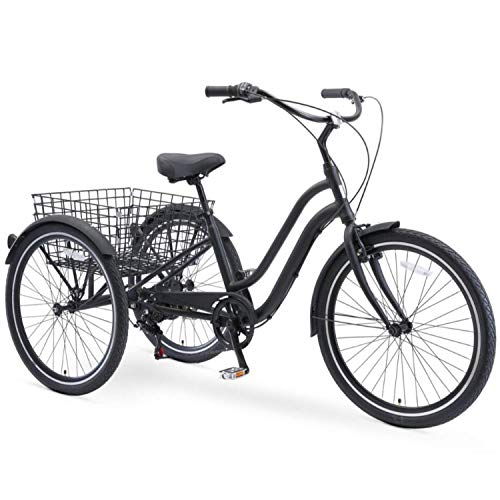sixthreezero EVRYjourney 26 Inch 7-Speed Hybrid Adult Tricycle with Rear Basket, Matte Black, One Size (630335)