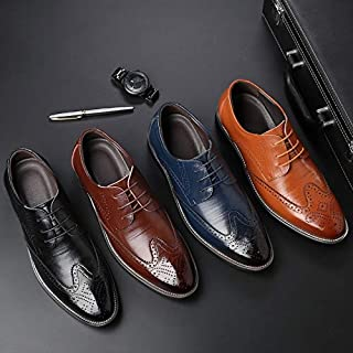 Men Fashion Business Oxford Shoes Casual Leather Pointed Toe ShoesWedding Lace Up Dress Bullock Shoes US 6-13 / EUR 38-48(Navy Blue,8)