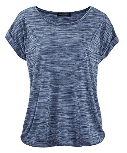 TrendiMax Damen T-Shirt Kurzarm Sommer Shirt Lose Strech Bluse Tops Causal Oberteil Basic Tee (Blau, L)