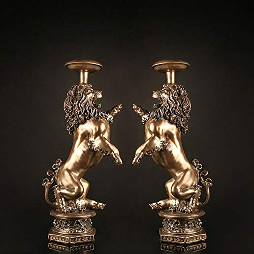 WANGXINQUAN Regalo clásico creativo para inauguración de la casa, decoración del hogar, candelabro doble, 1 juego de 16 x 26 x 55 cm