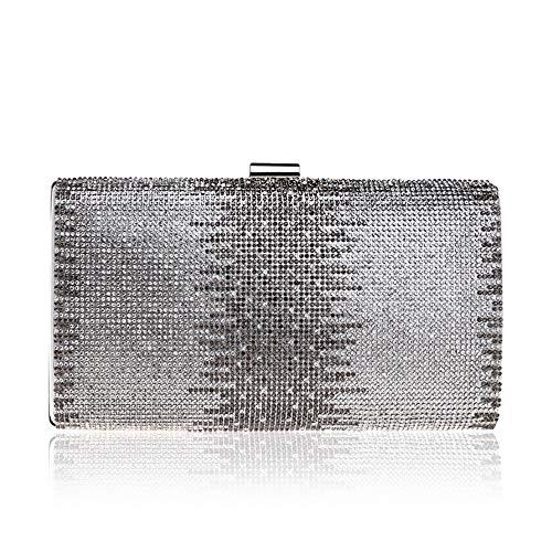 RUNWEI Pochette du Soir Pochette De La Mode Sac Cosmétique Carrée for Dames Mesdames Embrayage (Color : Silver, Size : 22x11.5x5cm)