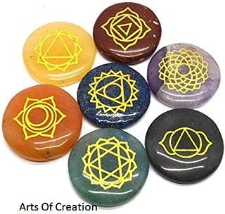 Arts of Creation Reiki Healing Crystal with Engraved Chakra Symbols Holistic Balancing Polished Palm Stones Set of 7 Gift Christmas Birthday Gift Wedding Gift