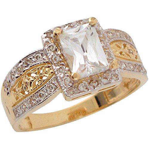Jewelry Liquidation 10k Two Tone Gold White CZ Filigree Ladies Wedding...