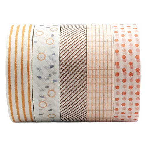 5 Rolls Basic Collection Decoration Washi Tape Set, EnYan 10mm Wide Japanese Masking Decorative Tapes for Bullet Journal Planners DIY Crafts and Arts Scrapbooking Adhesive