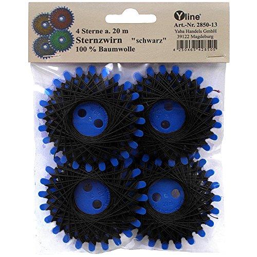 Yline 4 Sterne a. 20 m Sternzwirn Baumwolle schwarz, Sternchenzwirn Stern - Zwirn, sl, (0,06 € / m), 2850-13